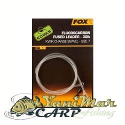 Fox Fluorocarbon Fused Leader Size7 Kwik Change Swivel 115cm